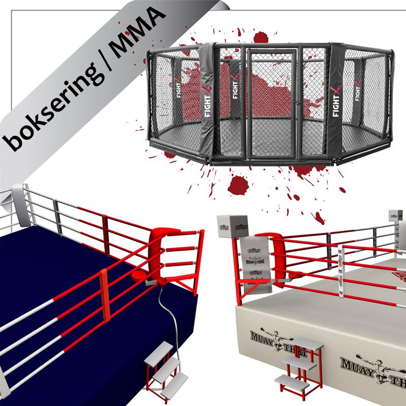 bokseringe og MMA octagon bure